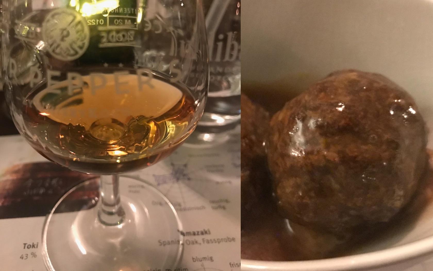 Yamazaki Whisky (Fassprobe) mit Spicy Fleischklößchen in Sherrysoße